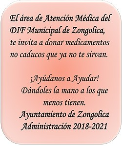 DIF de Zongolica invita a donar medicamentos