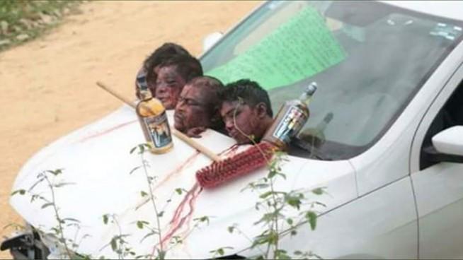 abandonan 4 cabezas humanas en sayula de aleman