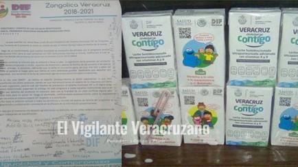 DIF estatal envia leche echada a perder a niños de zongolica
