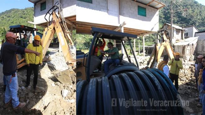 arranca construcción de drenaje en colonia indeco zongolica