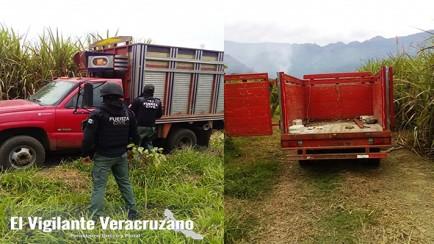 asegura fuerza civil camionetas robadas, en ixtaczoquitlan