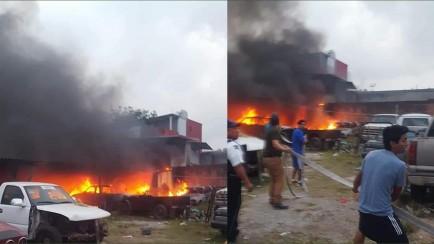 incendio en taller mecánico de la colonia juarez orizaba
