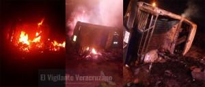 4 calcinados tras incendio de camioneta