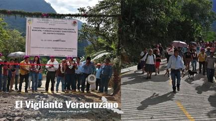 inauguran pavimentación de carretera en atzingo, texhuacan